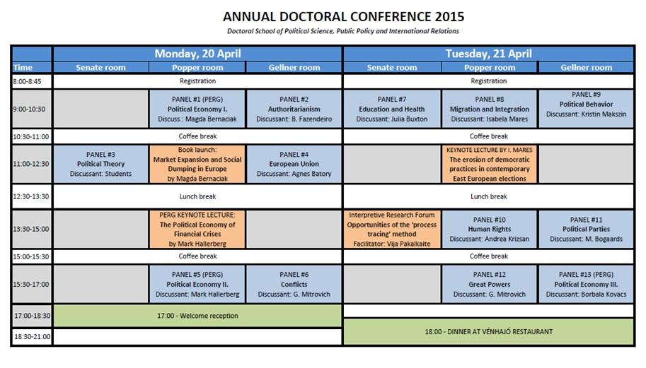 Annual Doctoral Conference Program Schedule - 2015